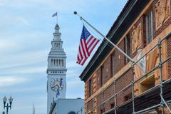 San Francisco Embarcadero and American Flag stock photos