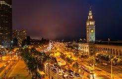 San Francisco Embarcadero. Embarcadero lights at night -in San Francisco Stock Photography