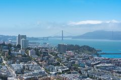 San Francisco, the Embarcadero. With the Marina District, Russian Hill, and the Golden Gate Bridge in background, panorama royalty free stock photos
