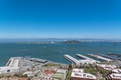 San Francisco, the Embarcadero. With the marina, and the Golden Gate Bridge in background, panorama royalty free stock photography