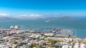 San Francisco, the Embarcadero. With the marina, and the Golden Gate Bridge in background, panorama stock images
