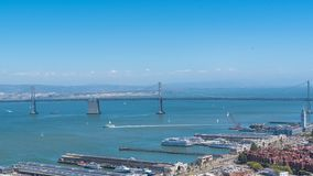 San Francisco, the Embarcadero. With the marina, and the Oakland Bay Bridge in background, panorama stock photo