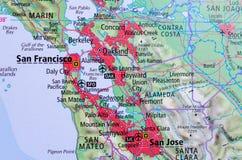 San Francisco en mapa imagen de archivo libre de regalías