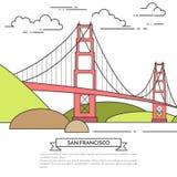 San Francisco-Fahne mit berühmter Brücke Golden Gate-Linie Kunst Stockfotografie