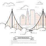 San Francisco-Fahnenstadtlandschaftlinie Kunst Lizenzfreie Stockbilder