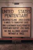 San Francisco Famous Alcatraz Warning Sign Fotografia Stock