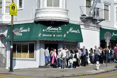 Mama's Restaurant. SAN FRANCISCO - FEBRUARY 23:  Unidentied people wait in line to dine at Mama's on February 22, 2013, in San Francisco.  Many think Mama's Royalty Free Stock Images