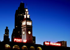 San Francisco Ferry Building. Port of San Francisco ferry building illuminated at night, California, U.S.A stock image