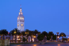 San Francisco Ferry Building at Night. San Francisco Ferry Building clock tower just after dark stock photography