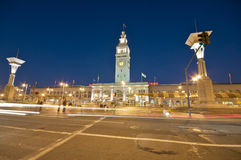 San Francisco Ferry Building at night. Ferry Building at the Embarcadero in downtown San Francisco royalty free stock images