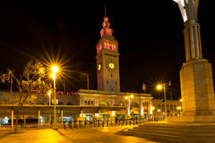 San Francisco Ferry Building at Night. This historic San Francisco Ferry Building illuminated at night stock image
