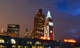 San Francisco Ferry Building at night Royalty Free Stock Photo