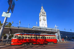 San Francisco Ferry Building and Train Car. San Francisco, California royalty free stock image