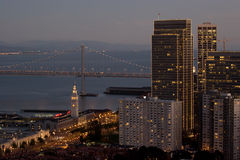 San Francisco Ferry Terminal and Downtown at Dusk Royalty Free Stock Photo