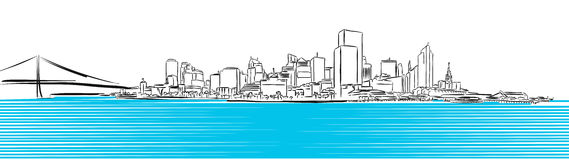 San Francisco Finance District Sketch Royalty Free Stock Image