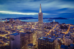 San Francisco Financial District Aerial View fotografie stock