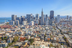 San Francisco Financial District. Aerial view of San Francisco Financial District and Transamerica Pyramid from the top of Coit Tower on sunny day, California Royalty Free Stock Photo