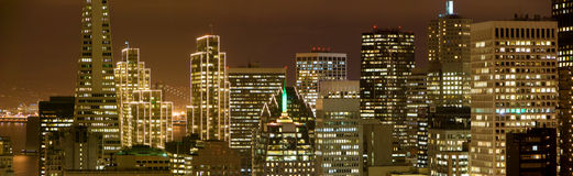 San Francisco Financial District at night Royalty Free Stock Image