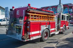 San Francisco Fire Department. San Francisco, CA - February 03: Engine 13 from San Francisco`s fire department located at Fisherman`s Wharf in San Francisco royalty free stock photos