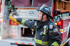 San Francisco fireman responding Stock Photos