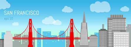 San Francisco flat illustration. Day view. Background with city panorama on a blue sky. Travel picture. Poster ad design royalty free illustration