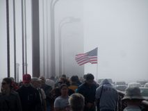 San Francisco Fleet Week. Crowd on the Golden Gate Bridge on a foggy morning for Fleet Week in San Francisco Stock Photos