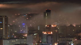 San Francisco Fog at Night  - Time Lapse - Clip 1 stock footage