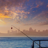 San francisco fog skyline with fishing rod in the mist Californi Royalty Free Stock Images