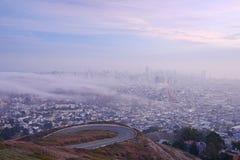 San francisco with fog royalty free stock photos