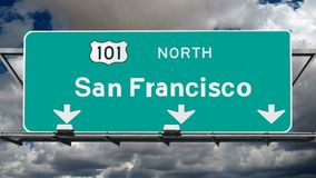 San Francisco 101 Fwy Sign Time Lapse Royalty Free Stock Photos