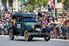 San Francisco Gay Pride Parade 2012. SAN FRANCISCO - JUNE 24: San Francisco Gay Pride Parade 2012. It is one of the largest gathering of LGBT people and allies Stock Photography