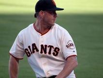 San Francisco Giants Closer Brian Wilson réchauffant dans l'enclos Photo libre de droits