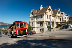 San Francisco Giants flag on trolley Royalty Free Stock Images