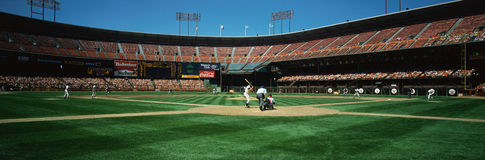 The San Francisco Giants playing on 3Com Stadium. This is 3Com Stadium. It was formerly known as Candlestick Park. The San Francisco Giants are playing royalty free stock image