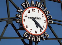 San Francisco Giants Scoreboard Clock by TimeWorks royalty free stock image
