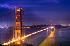 San Francisco golden gate bridge at night Royalty Free Stock Image