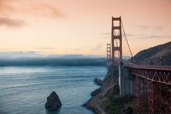 San Francisco Golden Bridge at sunrise Stock Image