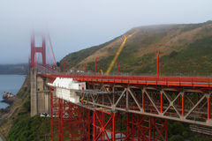 San Francisco Golden Gate bridge. View of famous San Francisco Golden Gate bridge during cloudy day Stock Photo