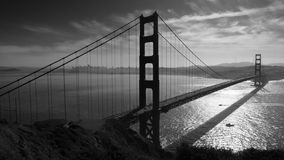 San Francisco Golden Gate Bridge. Golden Gate bridge and San Francisco seen from Battery Spencer, black and white Royalty Free Stock Photography