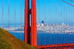 San Francisco Golden Gate Bridge through cables in California Royalty Free Stock Image