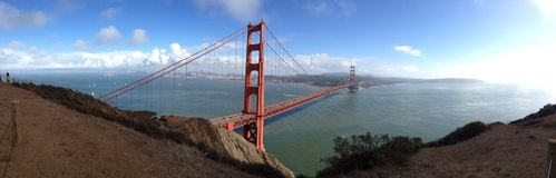 Panoramic wide angle Sunny day golden gate bridge san francisco california ocean bay sea stock photos