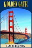 Poster, San Francisco, Golden Gate Bridge royalty free stock image