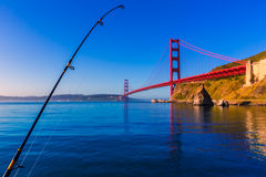 San Francisco Golden Gate Bridge with fishing rod Royalty Free Stock Photography