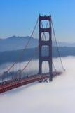 San Francisco Golden Gate Bridge in fog. Thic fog covering Golden Gate Bridge Royalty Free Stock Image