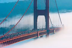 San Francisco Golden Gate Bridge in fog Royalty Free Stock Images