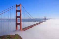 San Francisco Golden Gate Bridge in fog. Thic fog covering Golden Gate Bridge Stock Photography