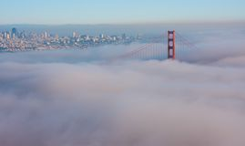 San Francisco Golden Gate Bridge in fog Stock Images