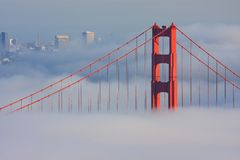 San Francisco Golden Gate Bridge in fog Royalty Free Stock Photo