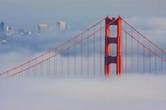 San Francisco Golden Gate Bridge in fog. Thic fog covering Golden Gate Bridge Royalty Free Stock Photo