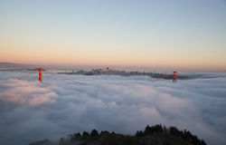San Francisco Golden Gate Bridge in fog Stock Photography